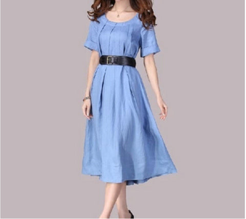 Light Blue Belted Midi Linen Dress