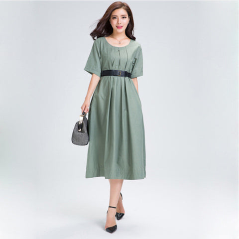 Green Belted Midi Linen Dress