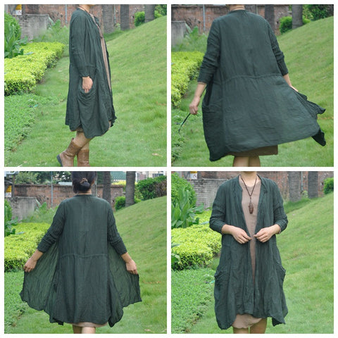Belted Green Single-Breasted Coat