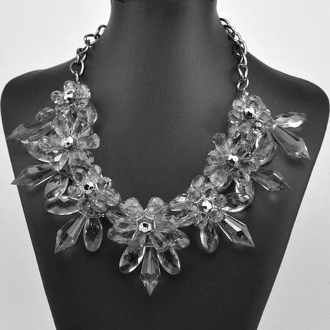 Transparent Floral Statement Necklace Jewelry