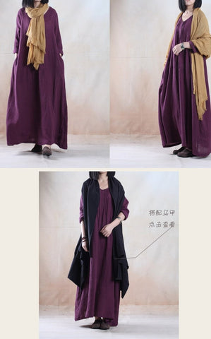 Purple Long Sleeve Cotton And Linen  Maxi Dress