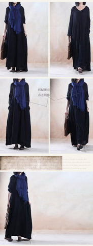 Black Long Sleeve Cotton And Linen  Maxi Dress