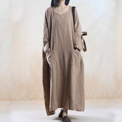 Deep Khaki Cotton And Linen Long Sleeve Maxi Dress