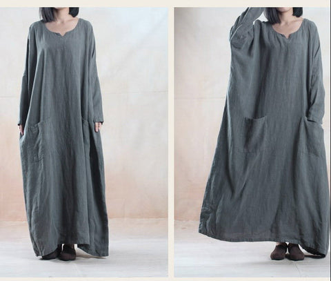 Gray Cotton And Linen Long Sleeve Maxi Dress