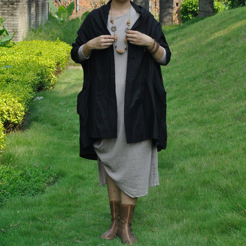 Black Cotton And Linen Cardigan