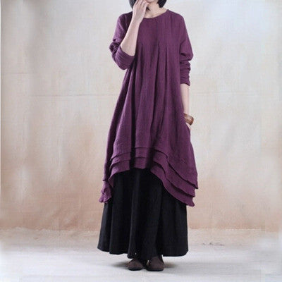 Purple Cotton And Linen Long Sleeve Maxi Dress