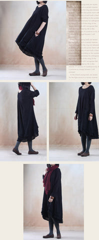 Black Cotton And Linen Long Sleeve Maxi Dress