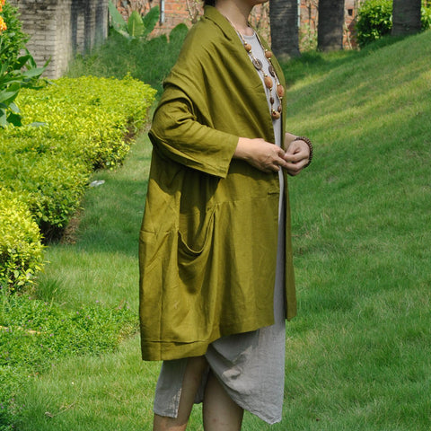 Olive Green Cotton And Linen Cardigan