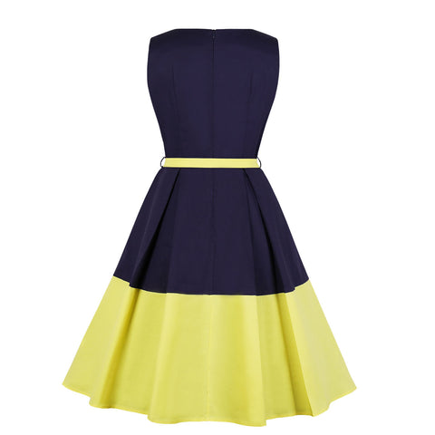 Blue Yellow Vintage Dress