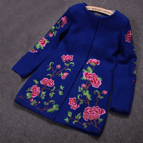 Embroidered Wool Coat Jacket in Blue