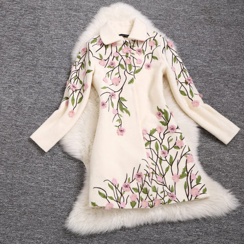 Embroidered Wool Coat Jacket in Light Creamy Color