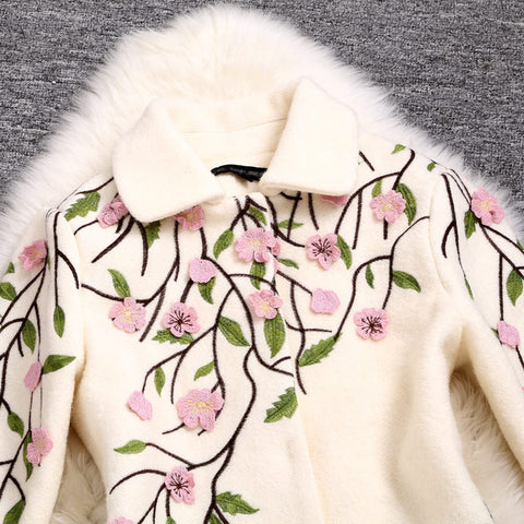Embroidered Wool Coat Jacket in Creamy Color