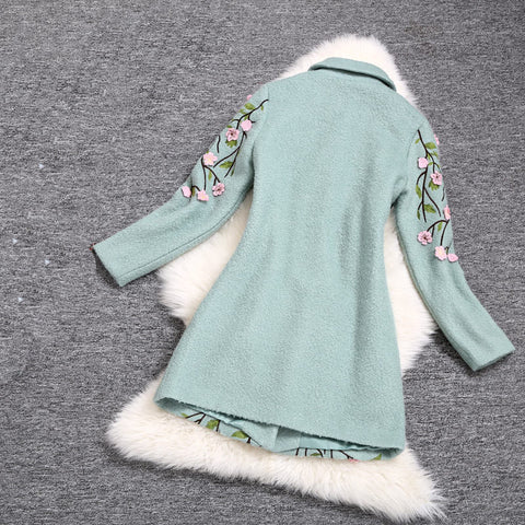 Embroidered Wool Coat Jacket in Light Blue
