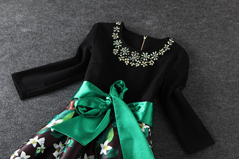 Plastic Pearl Beaded Floral Dress in Black Green