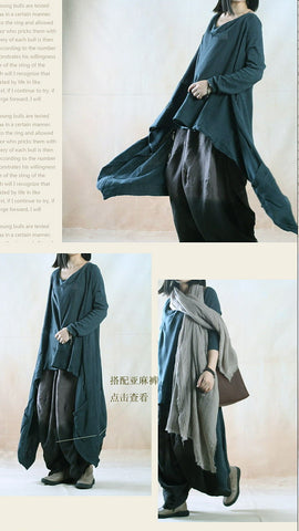Blue Asymmetric Hollow Out Loose Sweaters