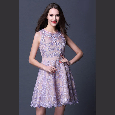 Purple Embroidered Lace Dress