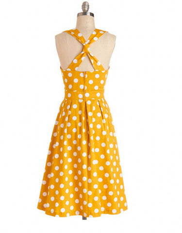 Yellow Polka Dot Vintage Dress