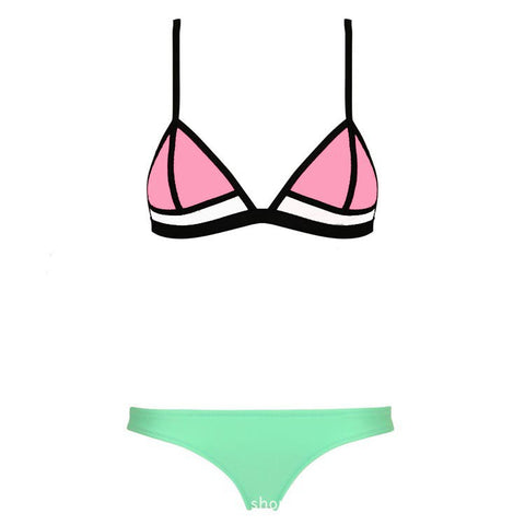 Swimwear Ribbon Textured Neoprene Bikini Set