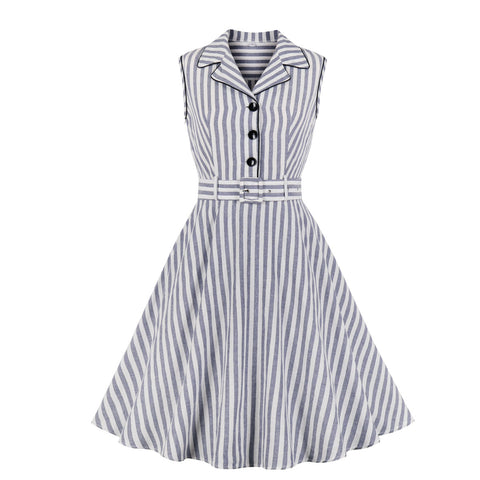 white gray stripe vintage dress