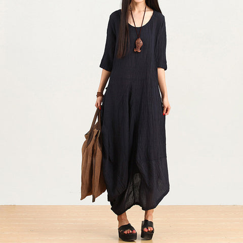 Dark Blue Irregular Linen Dress