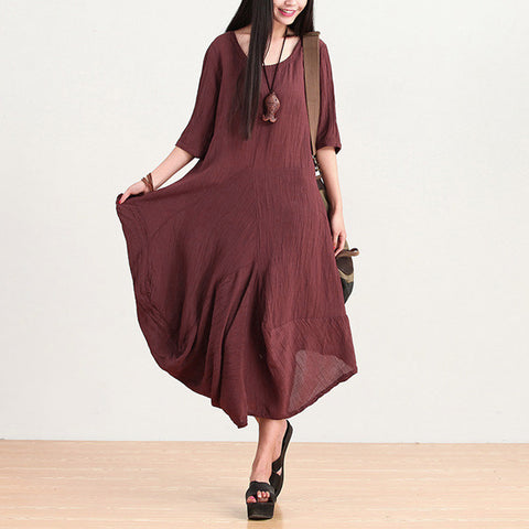 Wine Red Irregular 5 Minutes Of Sleeve Dress