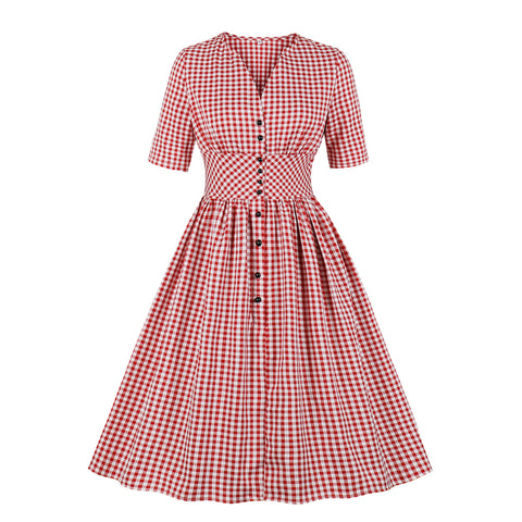 pink plaid vintage dress