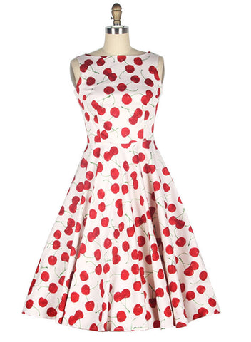 White Vintage Dress with Cherry Print