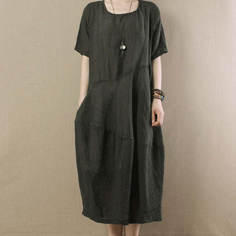 Dark Green Linen Short Sleeves Dress