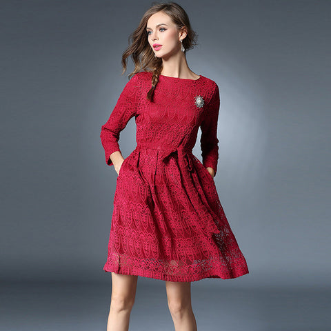 Belted Burgundy Lace Dress