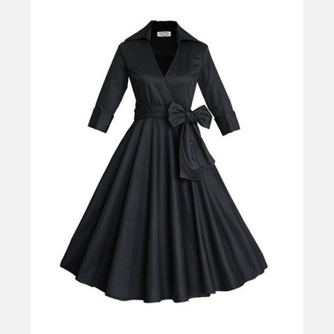 Belted Black Long Sleeve Vintage Dress