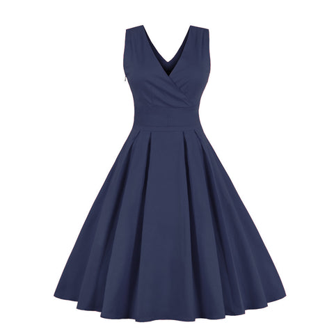 Navy Cotton Vintage Style Dress