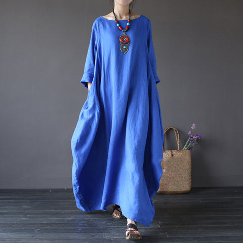 Blue Cotton And Linen Long Sleeve Maxi Dress