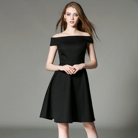Black Sexy Open Shoulder Midi Dress