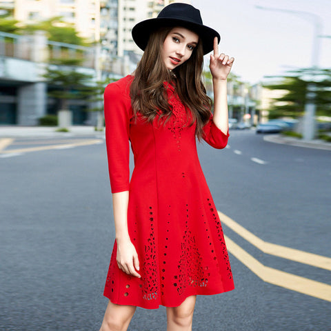Red Hollow Out Midi Dress