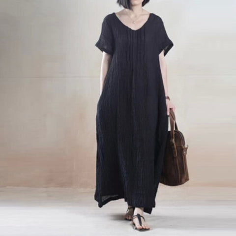 Black Loose Cotton Short Sleeve Dress