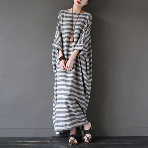 Black And White Stripe Cotton And Linen Long Sleeve Maxi Dress