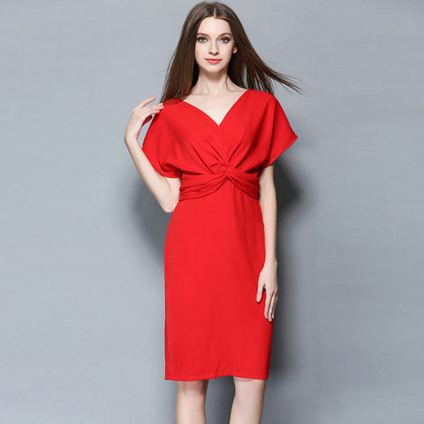 Red V-neck Dress