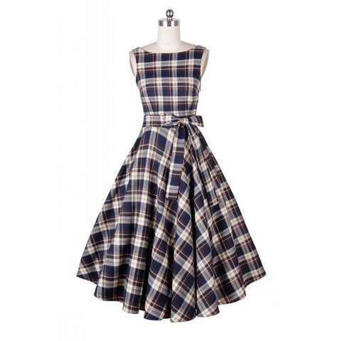 Belted Blue Plaid Vintage Dress