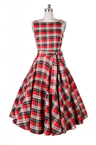 Red plaid dress