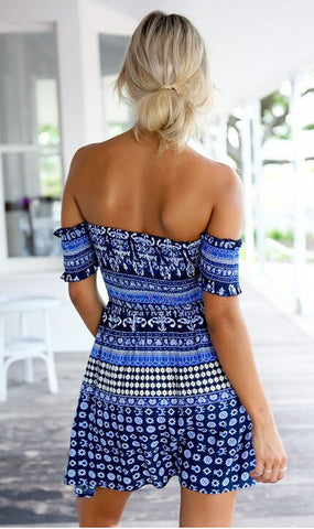 Blue Open Shoulder Beach Dress