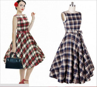 Belted Red Plaid Vintage Dress