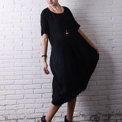 Black Linen Dress With Short Sleeves