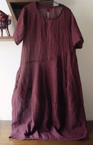 Wine Red Linen Long Sleeves Dress