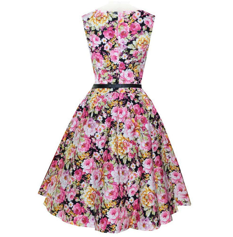 Belted Pink Floral Vintage Dress