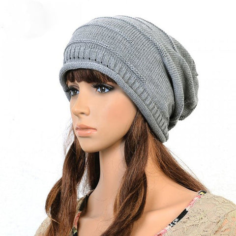 Slouchy knitted Cotton Hat in Gray