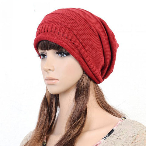 Slouchy knitted Cotton Hat in Red