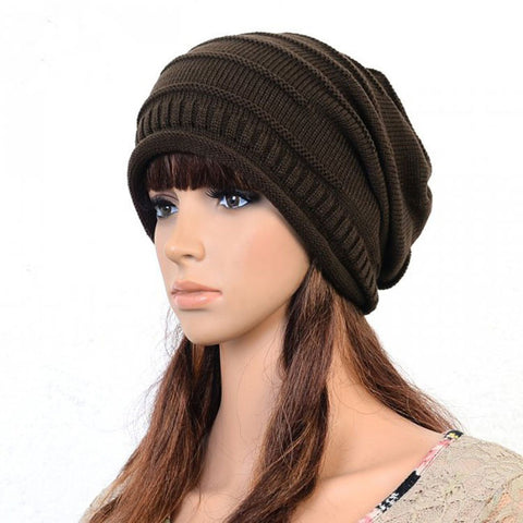 Slouchy knitted Cotton Hat in Brown