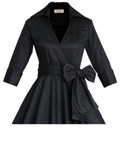 Black Half Sleeve Vintage Dress