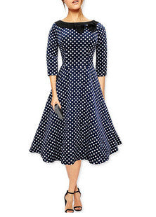 Navy Blue Long Sleeve Polka Dot  Vintage Dress with Bow