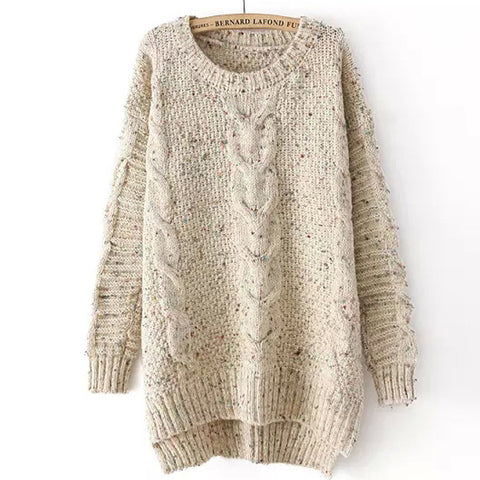 Cabled Sweater in Beige